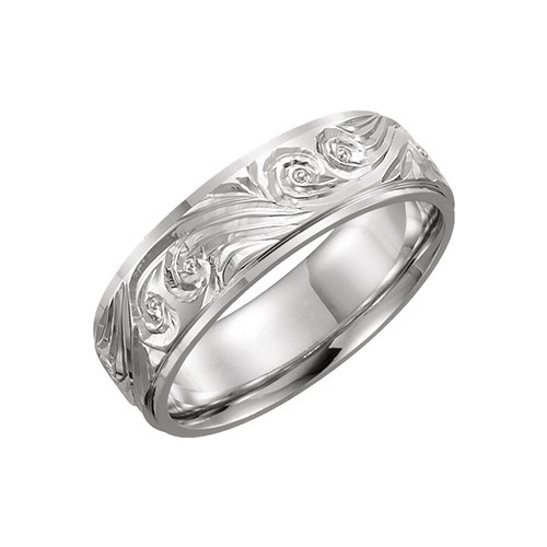 Platinum 2mm Hand Engraved Wedding Band With Milgrain: Stuller Platinum Hand-Engraved Wedding Band