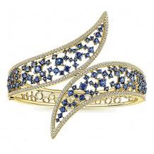 14k Yellow Gold Gabriel & Co. Diamond And Sapphire Bangle Bracelet