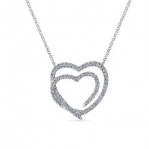 14k White Gold Gabriel & Co. Eternal Love Diamond Heart Necklace