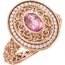 14k Rose Gold Stuller Pink Tourmaline and Diamond Fashion Ring