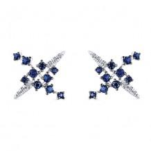 14k White Gold Gabriel & Co. Diamond Blue Sapphire Stud Earrings