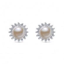 14k White Gold Gabriel & Co. Diamond Pearl Stud Earrings