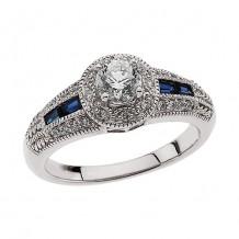 Stuller 14k White Gold Blue Sapphire and Diamond Engagement Ring