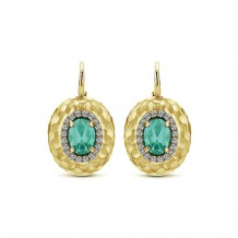 14k Yellow Gold Gabriel & Co. Diamond Green Onyx Drop Earrings