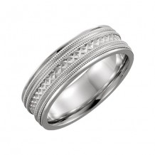 Stuller 14k White Gold Hand-Engraved Wedding Band