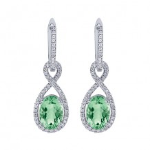 14k White Gold Gabriel & Co. Green Amethyst Diamond Drop Earrings