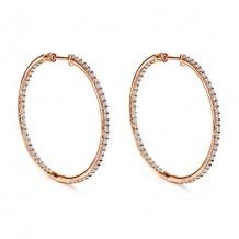 14k Rose Gold Gabriel & Co. Diamond Hoop Earrings