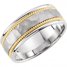 Stuller 14k Two Tone Gold Hammered Wedding Band
