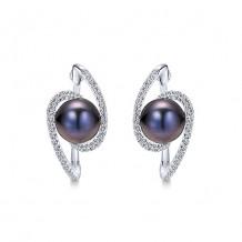 14k White Gold Gabriel & Co. Black Pearl Diamond Hoop Earrings