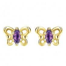 14k Yellow Gold Gabriel & Co. Amethyst Stud Earrings