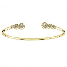 14k Yellow Gold Gabriel & Co. Diamond 6 Stone Bangle Bracelet
