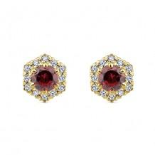 14k White Gold Gabriel & Co. Diamond Garnet Stud Earrings