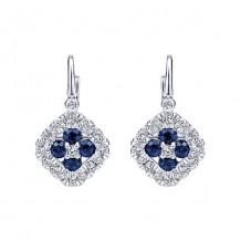 14k White Gold Gabriel & Co. Blue Sapphire Diamond Drop Earrings