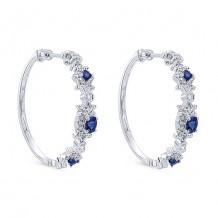 14k White Gold Gabriel & Co. Blue Sapphire Diamond Hoop Earrings
