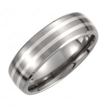 Stuller Titanium & Stuller Sterling Silver Inlay Satin Finish Men's Wedding Band
