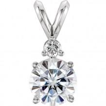 Stuller 14k White Gold Forever One Moissanite & Diamond Accented Pendant