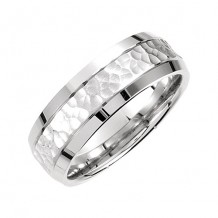 Stuller 14k White Gold Carved Men's Wedding Band