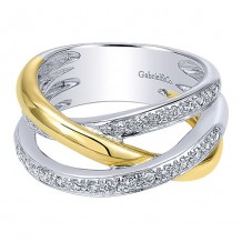 14k White and Yellow Gold Gabriel & Co. Diamond Fashion Ring