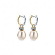 14k Yellow & White Gold Gabriel & Co. Diamond Pearl Drop Earrings