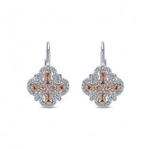 14k White & Rose Gold Gabriel & Co. Diamond Drop Earrings