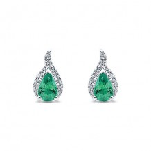14k White Gold Gabriel & Co. Diamond And Emerald Stud Earrings