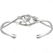 Stuller 14k White Gold Diamond Leaf Design Cuff Bracelet