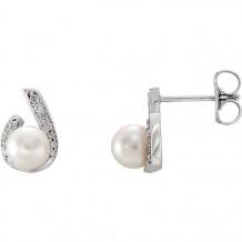 Stuller 14k White Gold Freshwater Pearl Diamond Earrings