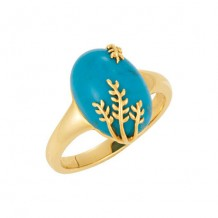 14k Yellow Gold Stuller Chinese Turquoise Leaf Ring
