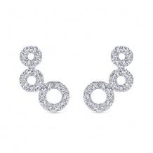 14k White Gold Gabriel & Co. Diamond Comets Stud Earrings