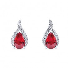 14k White Gold Gabriel & Co. Diamond Ruby Stud Earrings