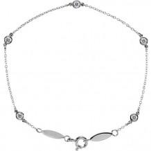 Stuller 14k White Gold Spring Ring Diamond Bracelet