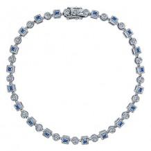 14k White Gold Gabriel & Co. Diamond And Sapphire Tennis Bracelet