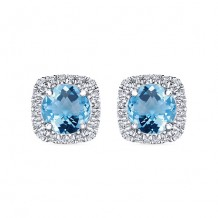 14k White Gold Gabriel & Co. Diamond Blue Topaz Stud Earrings