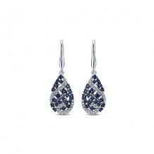 14k White Gold Gabriel & Co. Diamond And Sapphire Drop Earrings