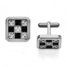 Chisel Stainless Steel Black And Grey Carbon Fiber Cufflinks