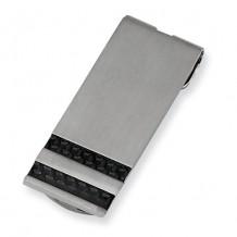 Chisel Stainless Steel Brushed Black Carbon Fiber Money Clip