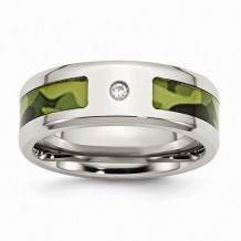 Chisel Stainless Steel Polished With CZ Printed Green Camo Under Rubber Men's Band