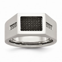 Chisel Stainless Steel Polished Black Carbon Fiber With CZ Men's Ring