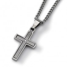 Chisel Titanium .03ct. Diamond Accent Cross 22in Necklace