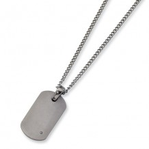 Chisel Titanium .02ct. Diamond Accent Necklace