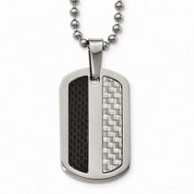 Chisel Stainless Steel Polished Black/Gray Carbon Fiber Dogtag Necklace