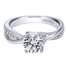 14k White Gold Gabriel & Co. 0.14ct Diamond Engagement Ring
