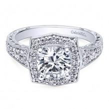14k White Gold Gabriel & Co. 0.59ct Diamond Engagement Ring