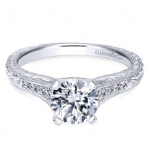 14k White Gold Gabriel & Co. 0.15ct Diamond Engagement Ring