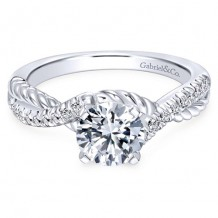 14k White Gold Gabriel & Co. 0.17ct Diamond Engagement Ring