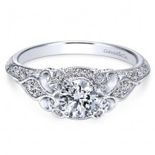 14k White Gold Gabriel & Co. 0.31ct Diamond Engagement Ring