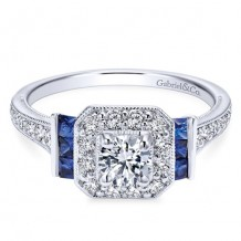 14k White Gold Gabriel & Co. 0.40ct Diamond and Sapphire Engagement Ring
