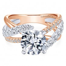14K White and Pink Gold 0.79ct Diamond Engagement Ring