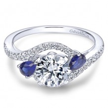 14k White Gold Gabriel & Co. 0.2ct Diamond and Blue Sapphire Engagement Ring