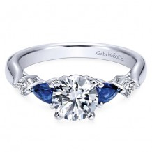 14k White Gold Gabriel & Co. 0.10ct Diamond and Blue Sapphire Engagement Ring